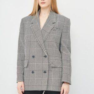 Nwot Zara houndstooth  double breasted blazer jacket S